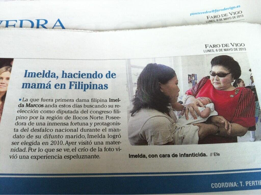 Imelda Marcos en la Edición del 6 de mayo de 2013 de El Faro de Vigo