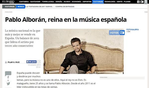 Pablo Alborán, reina en la música